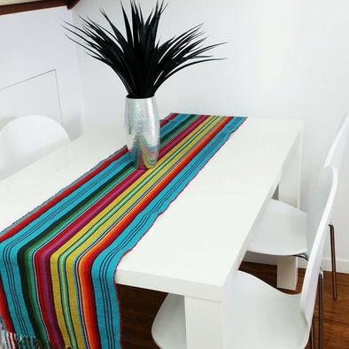 Table Runner Striped Multi Colour Vibrant Mexican Look Madagascar Red Blue Green