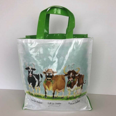 PVC Reusable Shopping Bag Mini Gusset Tote Cheddar Cows Cheese Lovers Shopper
