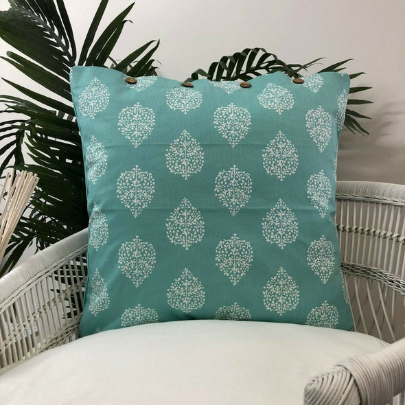 Cushion Cover Avalon Sea Green White Leaf Pattern Scatter Throw Pillow Case 40cm