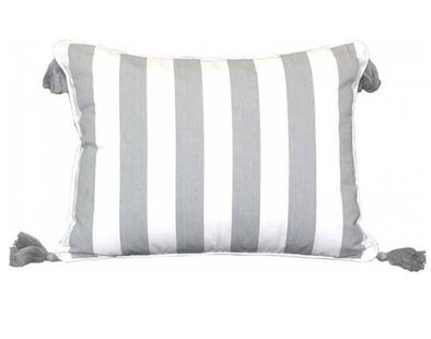 Grey and White Hamptons Cushion Cover - Amalfi with Tassels - 40 x 55 cm