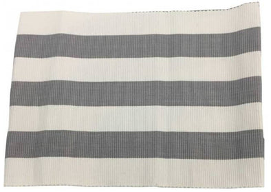 Set of 4 Place Mats Placemats Grey and White Stripe - Amalfi