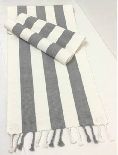 Grey and White Stripe Table Runner - Amalfi