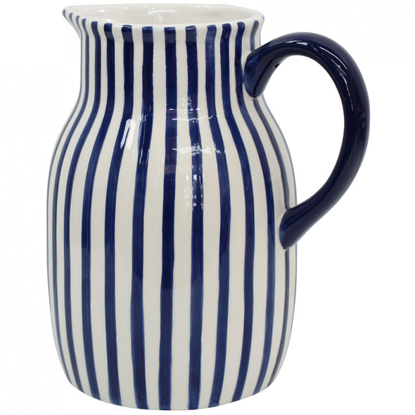 Navy Blue and White Hand Painted Stripe Ceramic Jug - 21.5 cm Height