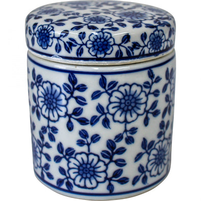 Daisy Chain Blue and White Ceramic Jar/Trinket Box