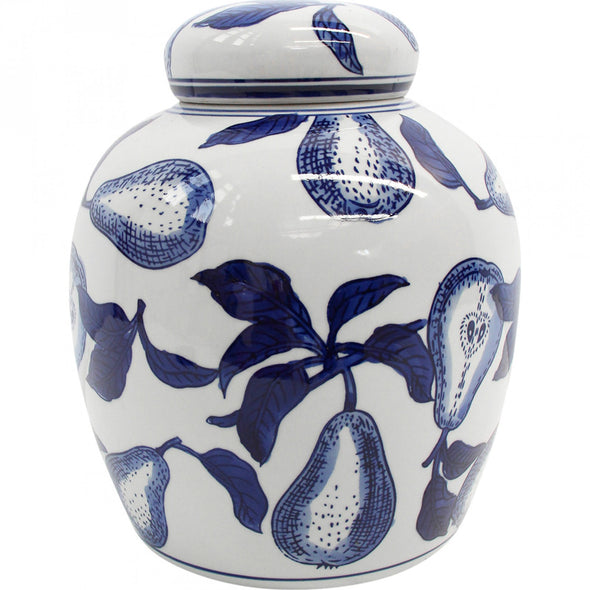 French Pear Blue and White Ginger Temple Jar - 20 cm H