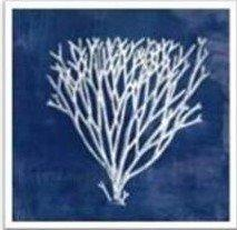 Hamptons Deep Blue Sea with Silver Coral Wall Art
