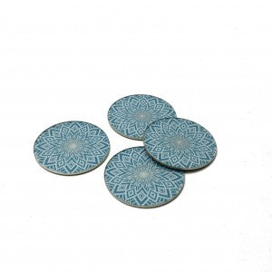 Set of 4 Blue/Green and White Coasters
