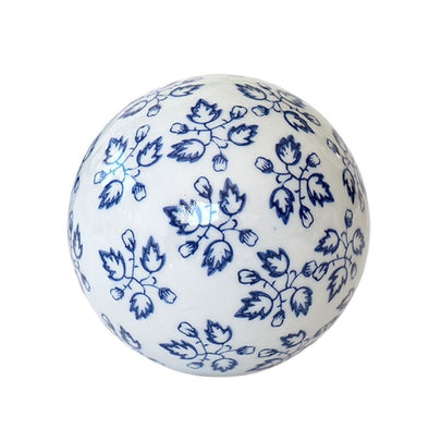 Hamptons Blue and White Ceramic Decorator Ball - Large - Vine Leaves