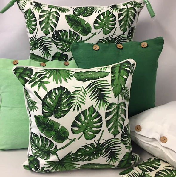 Tropical Palm Green and Off White Cushion Cover - 40 x 40 cm