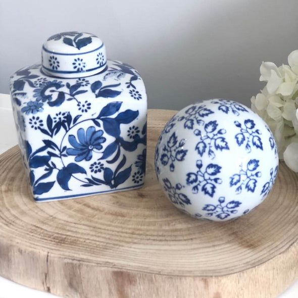 Set of 2 Blue and White Ceramic Decor Pieces - Ginger Jar and Ball