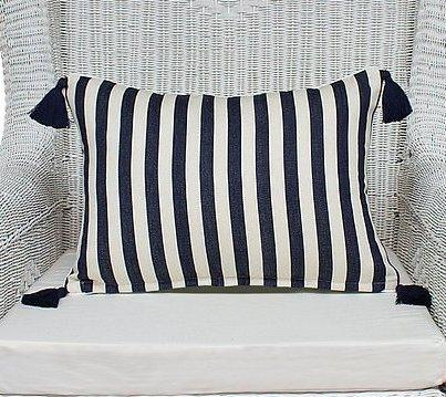 Navy and Off White Cushion Cover with Tassels - Breton - 40 x 55 cm