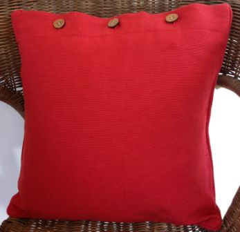 Bright Red Solid Colour Cotton Linen Cushion Cover - Reddy Red