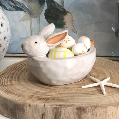 Easter Bunny Cream Ceramic Dish Planter
