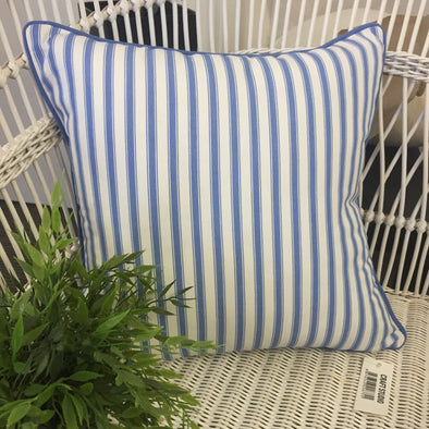 Byron Bay Blue and White Ticking Stripe Cushion Cover