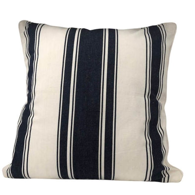 Denim Navy and White Stripe Cushion Cover - 40 x 40 cm