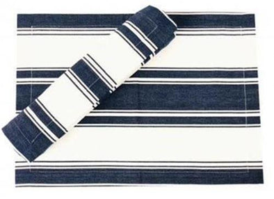 Navy and White Striped Table Runner - Caribbean