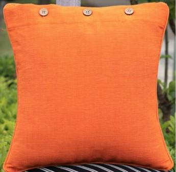 Citrus Orange Solid Colour Cotton Linen Cushion Cover