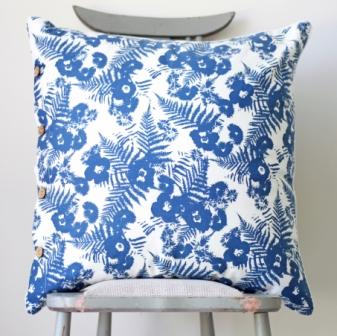 Blue and White Abstract Floral Pattern Cushion Cover - Sara