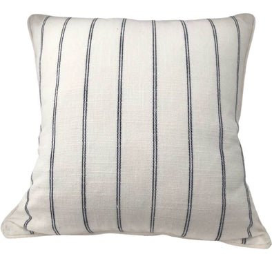 French Country White with Navy Stripe Cushion Cover - 40 x 40 cm