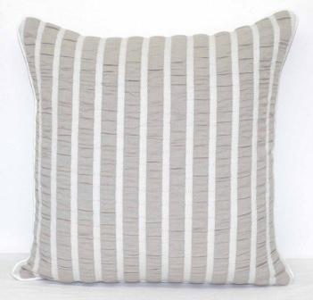Grey and White Stripe in Ruched Seersucker Cotton Cushion Cover - Parker Pearl Grey