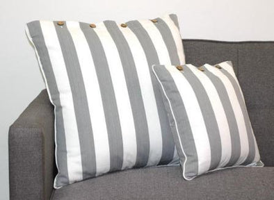 Grey and White Striped Hamptons Cushion Cover Amalfi