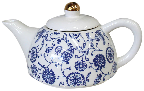 Blue and White Teapot for One with Abstract Floral Design