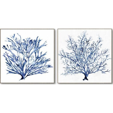 Set of 2 Blue Coral Wall Art - 82 x 82 cm