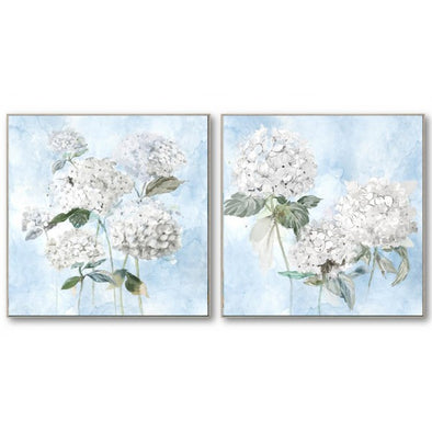 Set of 2 Hamptons White Hydrangea Canvas Wall Art - 82 x 82 cm