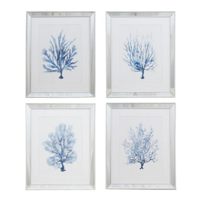 Set of 4 Blue Coral Mirror Framed Wall Art