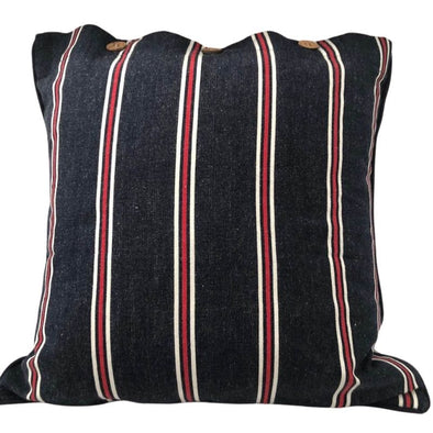 Navy, Red and White Stripe Cushion Cover - 40 x 40 cm