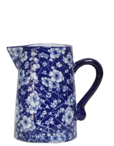 Ming Blue and White Blossom Ceramic Jug - 14 cm