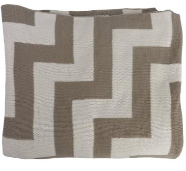 Mocha Beige and White Stripe Chevron Pattern Knitted Throw Blanket - Geo Pulse