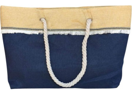 Navy Blue Large Canvas Beach Shopping Bag Front with Braid and Fringe Trim