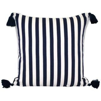 Navy and White Stripe Cotton Linen Cushion Cover with Tassels - Breton