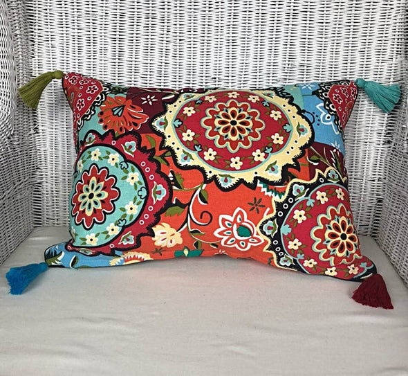 Bright Multi Colour Boho Pattern Cushion Cover with Tassels - Otto