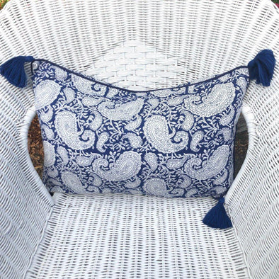 Navy and White Paisley Cushion Cover 40 x 55 cm
