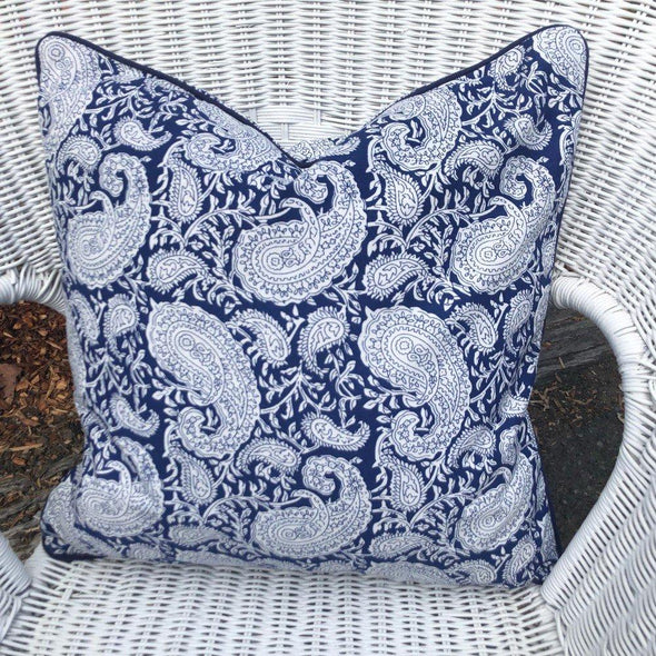Navy and White Paisley Cushion Cover - 50 x 50 cm