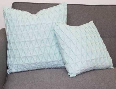 Pale Aqua Sky Blue Solid Colour Nip and Tuck Textured Cushion Cover - Gracie Sky