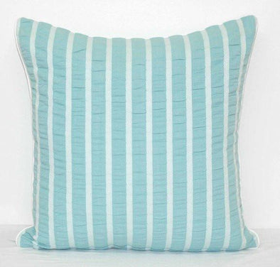 Pale Sky Blue and White Stripe in Ruched Seersucker Cotton Cushion Cover - Parker Sky