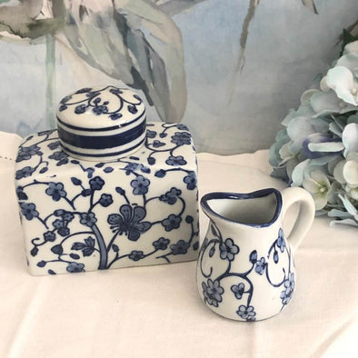 Set of 2 Blue and White Blossom Ceramic Decor Pieces