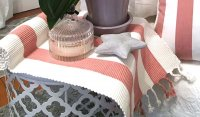 Pink and White Stripe with Fringe Trim Table Runner - Capri