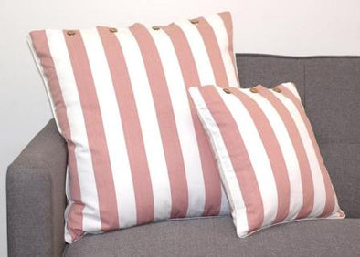 Striped Dusty Pink and White Hamptons Look Cushion Cover