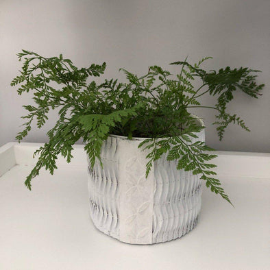 Ethical Handcrafted Recycled Paper Planter Pots - White
