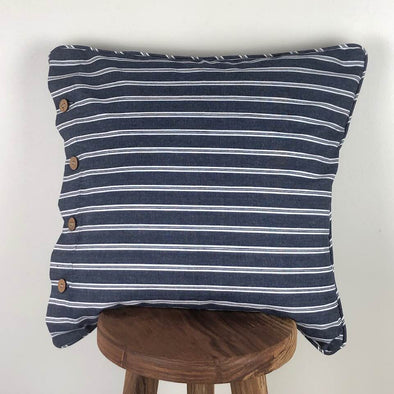 Cotton Ticking Navy and White Stripe Cushion Cover