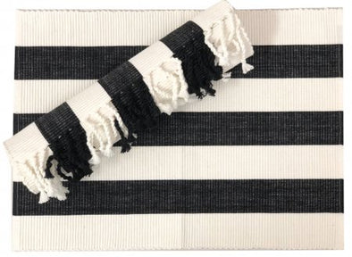 Black and White Striped Table Runner - 180 cm