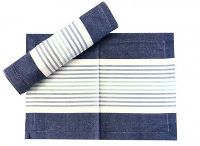 Chambray Navy, Blue, Green and White Stripe Stripe Table Runner- 180 cm
