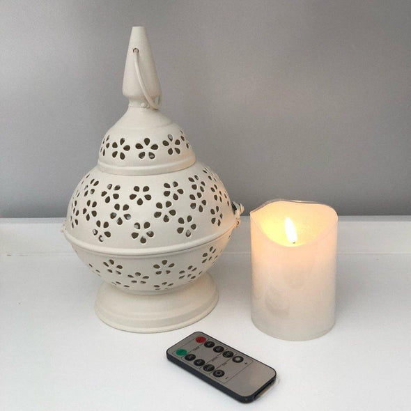 Lace-cut Metal Lantern - White - 26 cm and 10 cm LED Pillar Candle with Remote
