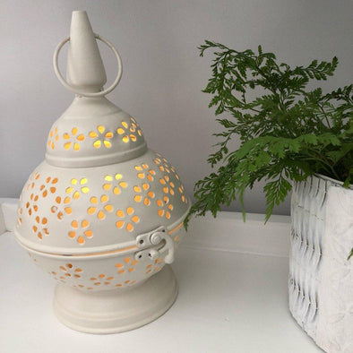 Lace-cut Metal Lantern - White - 26 cm