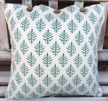 Teal Green and White Leaf Pattern Cushion Cover