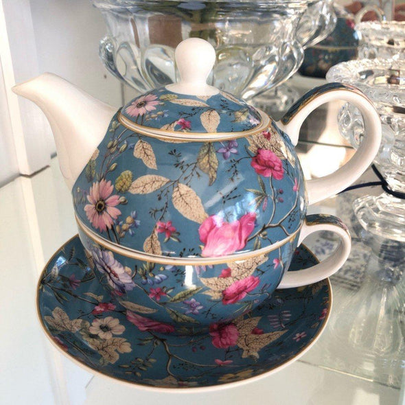 Tea for One - Vintage Floral Blue - Cup Saucer and Teapot
